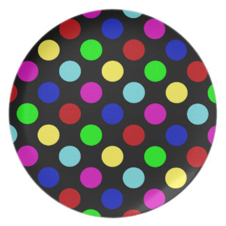 Colorful Bright Polka Dots on Black Plates