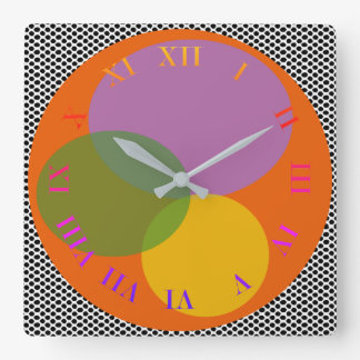 Colorful Bright Radiant Abstract Roman Dial Trendy Square Wall Clock