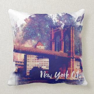 Colorful Brooklyn Bridge Illustration Throw Pillow