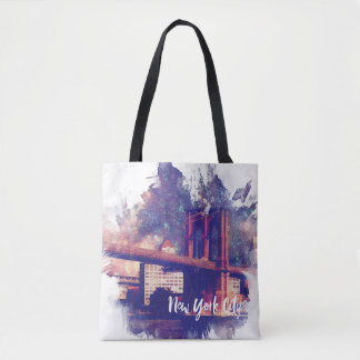 Colorful Brooklyn Bridge Painting Tote Bag