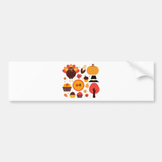 Colorful brown autumn bird with elements bumper sticker