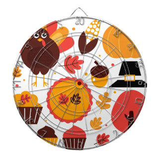 Colorful brown autumn bird with elements dartboard