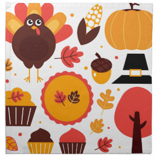 Colorful brown autumn bird with elements napkin