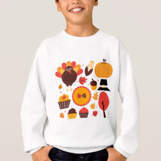 Colorful brown autumn bird with elements sweatshirt
