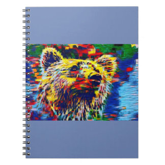 Colorful Brown Bear Spiral Notebook