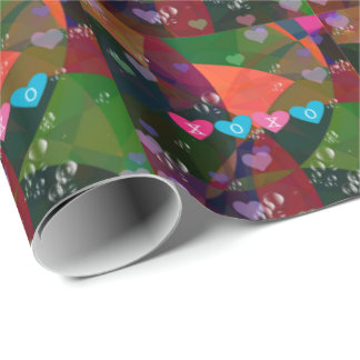 Colorful bubbles and hearts of love wrapping paper