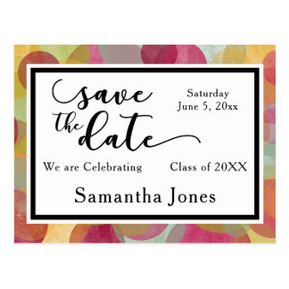 Colorful Bubbles Design: Graduation Save the Date Postcard