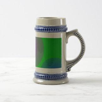 Colorful Bubbles on Dark Green Mugs