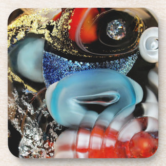 colorful Bubbles, photography, glass object, gold Drink Coaster