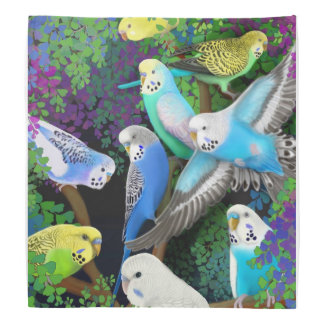 Colorful Budgerigar Parrots in Ferns Bandana