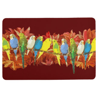 Colorful budgies pattern floor mat