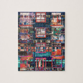 Colorful Buildings Collage Jigsaw Puzzle