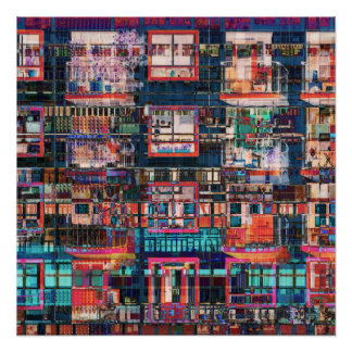 Colorful Buildings Collage Perfect Poster