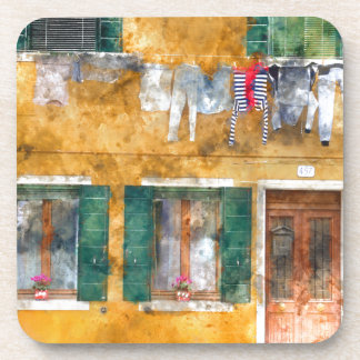 Colorful Buildings in Venice Italy Drink Coaster