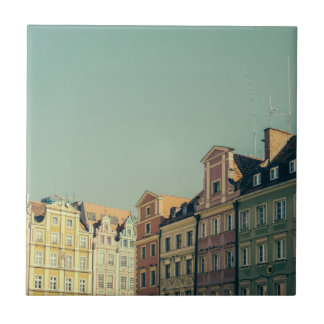 Colorful Buildings in Wroclaw, Poland Tile