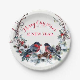 Colorful Bullfinches Wreath - Merry Christmas Paper Plate