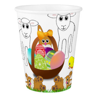 Colorful Bunny Egg Basket for Easter Paper Cup