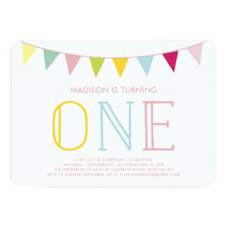 Colorful Bunting | First Birthday Invitation