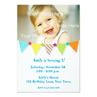 Colorful Bunting Flags Birthday Photo Invitation