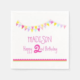 Colorful bunting kids 2nd birthday name napkins disposable napkin