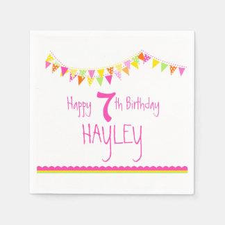Colorful bunting kids 7th birthday name napkins paper napkin