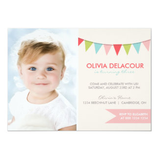 Colorful Bunting Kids Birthday Party Invitation