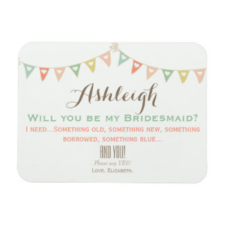 Colorful Bunting Will You Be My Bridesmaid? Rectangular Photo Magnet