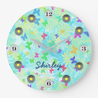 Colorful Butterflies and Daisies by Shirley Taylor Wall Clock