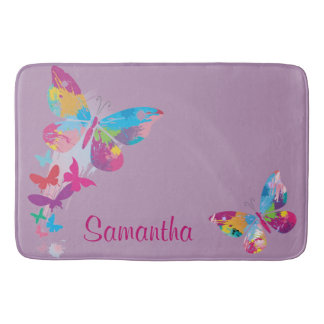 Colorful Butterflies Design Bath Mat