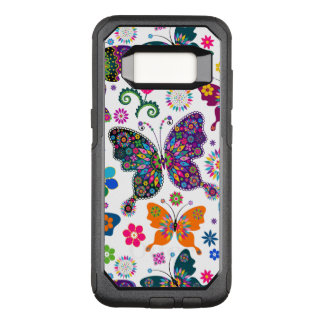 Colorful Butterflies & Flowers Retro Pattern OtterBox Commuter Samsung Galaxy S8 Case