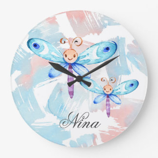 Colorful Butterflies Large Clock