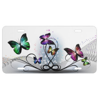 Colorful Butterflies License Plate