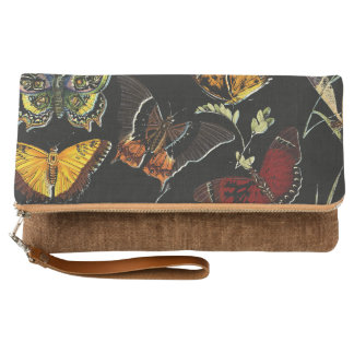 Colorful Butterflies on Black Clutch