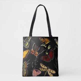 Colorful Butterflies on Black Tote Bag