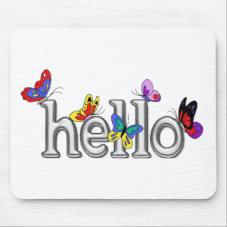 Colorful Butterflies on Chrome Hello Mouse Pad