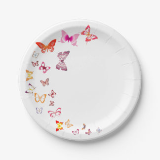 Colorful Butterflies Paper Plate