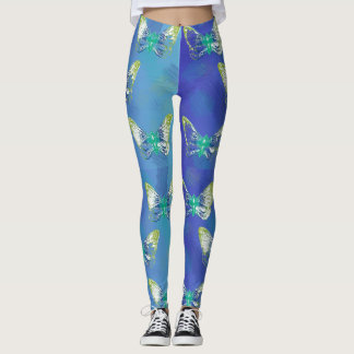 Colorful Butterflies Stamp Art Leggings