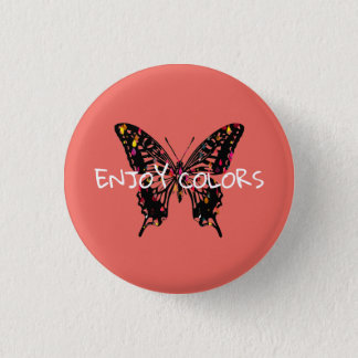 Colorful Butterfly 1 Inch Round Button