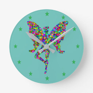 Colorful Butterfly Ballerina Wall Clock