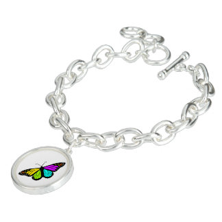 Colorful butterfly clipart charm bracelet