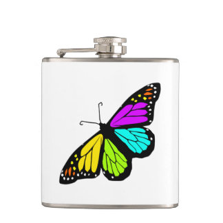 Colorful butterfly clipart hip flask