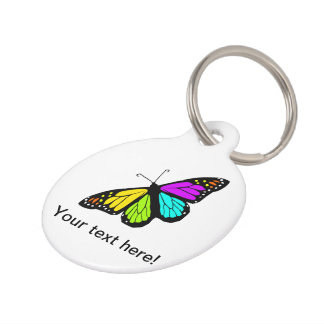 Colorful butterfly clipart pet tag