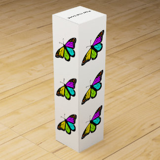 Colorful butterfly clipart wine gift box