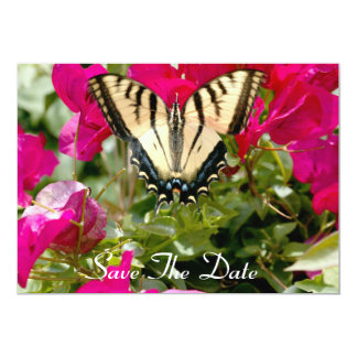 Colorful Butterfly & Flowers, Save The Date invite