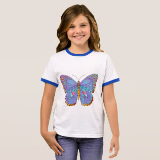 Colorful Butterfly Girl's T-Shirt
