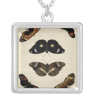 Colorful Butterfly Medley on Cream Background Silver Plated Necklace