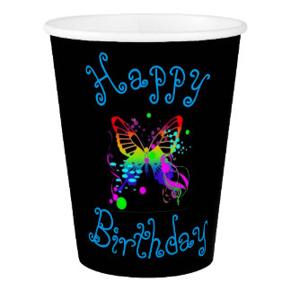 Colorful Butterfly on Black Birthday Party Cup
