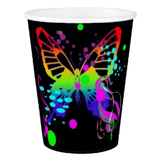 Colorful Butterfly on Black Party Cups