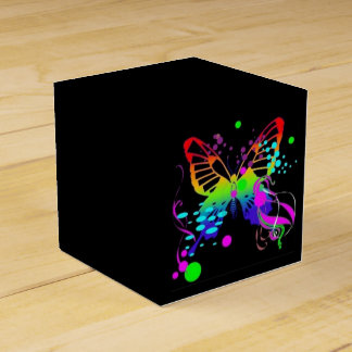 Colorful Butterfly on Black Party Favor Box