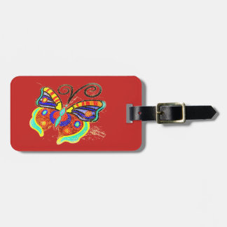 colorful butterfly  pattern Thunder_Cove pink Luggage Tag